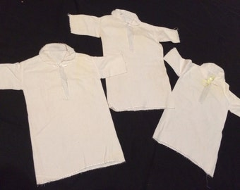 Trio of Vintage Long Sleeve White Flannel Baby Gowns