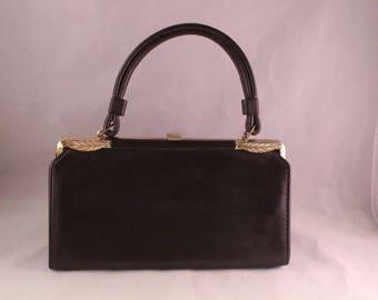 Vintage Brown Vinyl Jaclyn Purse/Handbag with Short Handle