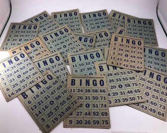 Set of 21 Vintage Blue Cardboard Bingo Cards