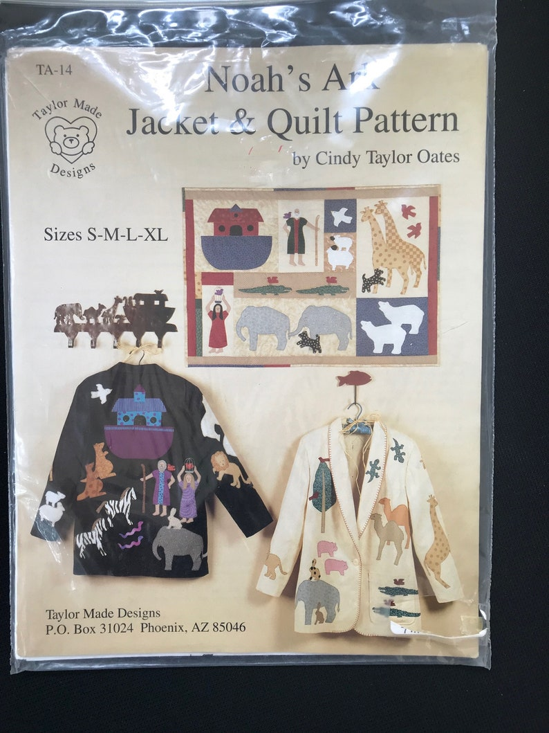 Sizes S-M-L-XL Vintage Taylor Made Designs TA-14 Noah\u2019s Ark Jacket and Quilt Pattern Booklet