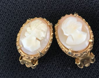 Pair of Vintage Cameo and Goldtone Clip On Earrings