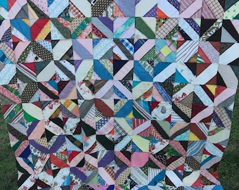 Vintage Hand Pieced Bow Tie and Strip Pattern Quilt Top