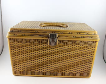 Vintage 1970's Era Harvest Gold Basket Weave Look Plastic Sewing Box with Tray Insert