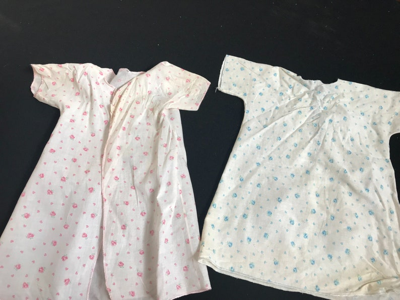 Pair of Vintage BabyToddler Gowns Blue Roses and Pink Roses