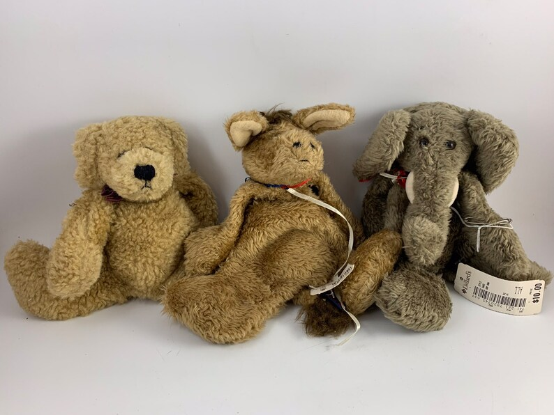 Lot of 3 Vintage Boyd\u2019s Bears Bears in the Attic Collection Bear Brayburn the Democrat Donkey Newton the Elephant and Mr