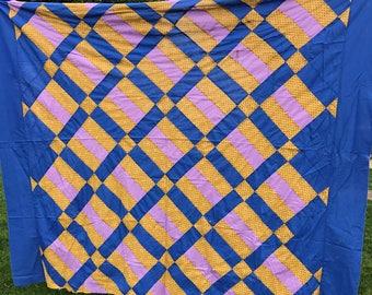 Vintage Lattice Design Quilt Top Set in Blue