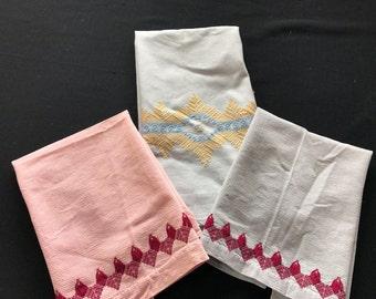 Set of 3 Vintage Pink, Blue & Grey Huck Kitchen Towels