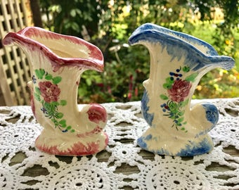 Pair of Vintage Made in Occupied Japan Hand Painted Blue and Pink Horn of Plenty Vases