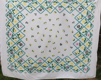 Vintage Teal Lattice with Yellow and Pink Floral Print Tablecloth