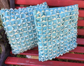 Pair of Vintage Aqua and White Gingham Check and Smocking Throw Pillows