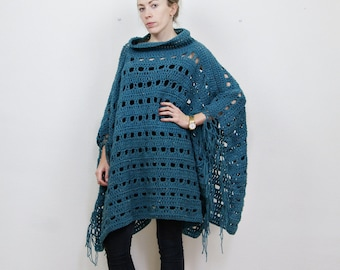 Crochet wool poncho, fringe poncho, teal blue, chunky knit poncho, roll neck poncho, cape coat, winter pullover, winter poncho,