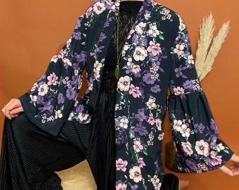 Floral boho kimono jacket - gift for her - bohemian hippie style UK 8-10