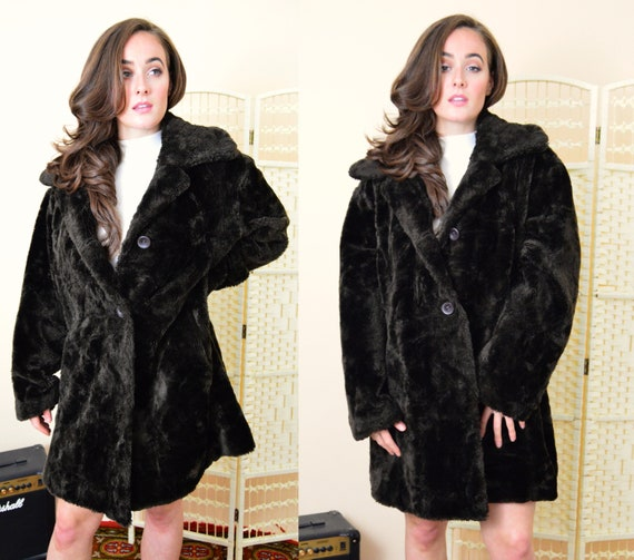 Vintage braune Faux Pelz Teddybären Mantel faux fur Wintermantel Größe 16