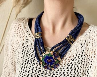 Vintage chunky boho statement necklace, rope necklace