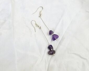 Amethyst wire drop dangle earrings, February birthstone