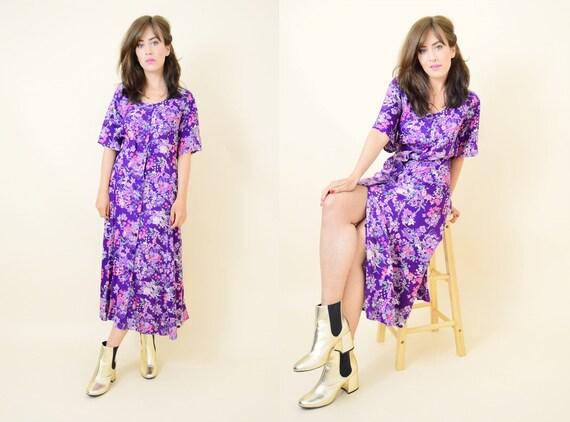 a3d883de09 Vintage floral button up dress purple dress boho summer