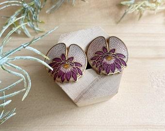 Vintage floral cloisonne stud earrings