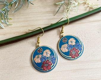 Vintage boho floral cloisonne dangle earrings