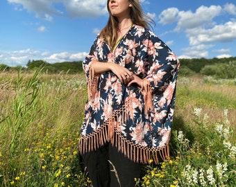 Boho floral gypsy fringe kimono - free size