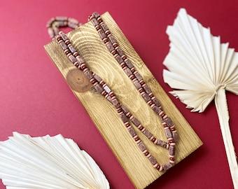 Beaded stone long boho necklace