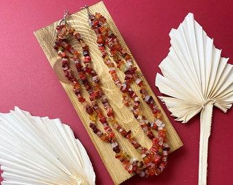 Vintage chunky gemstone chip beaded necklace
