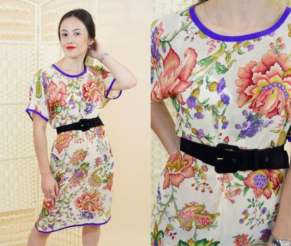 872909c20014 Vintage 1970 s floral slip dress Vintage midi shift