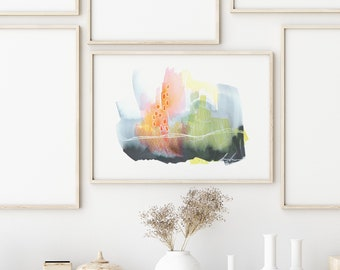 Teeming with Life/ fine art print, abstract artwork, wall art for home, living room decor, watercolor painting print set, home decor boho