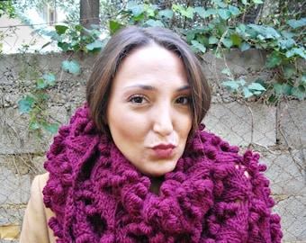 triangular shawl textured burgundy,handknit shawl,chunky shawl,neckpiece,neckwarmer, women knit shawl,triangular shawl,lace,trendy bobbles