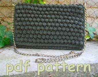 pdf pattern handknitted bobbles bag, bobbles clutch, knitted flap bag,bobble bag, green shoulder bag