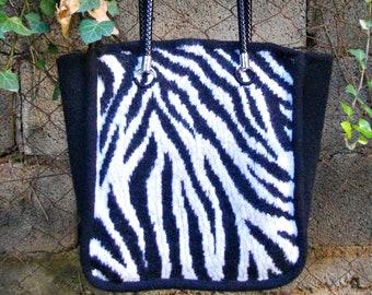 Handknitted felted zebra print tote,zebra print bag, day to night tote, animal print bag, knitted black white tote, large shoulder bag