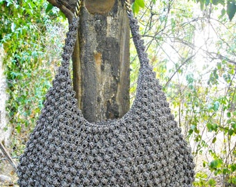 Handknitted bobbles hobo bag,brown hobo bag, day to night shoulder bag, bobbles bag, knitted hobo bag,bobble bag, large shoulder bag