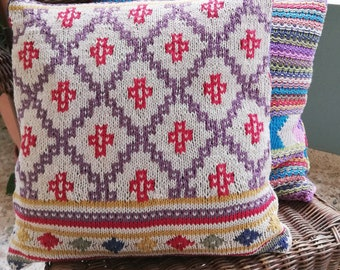 Set of two colorwork cushion covers knitting pattern pdf
