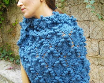 triangular shawl with bobbles PDF pattern,knitting pattern, shawl pattern, knitted shawl pattern,knit shawl pattern