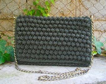 Handknitted bobbles bag,dark olive green, day to night shoulder bag, bobbles clutch, knitted flap bag,bobble bag, green shoulder bag
