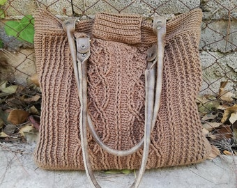 Hand-crocheted textured tote,crochet cabled bag, day to night tote, large brown shoulder bag