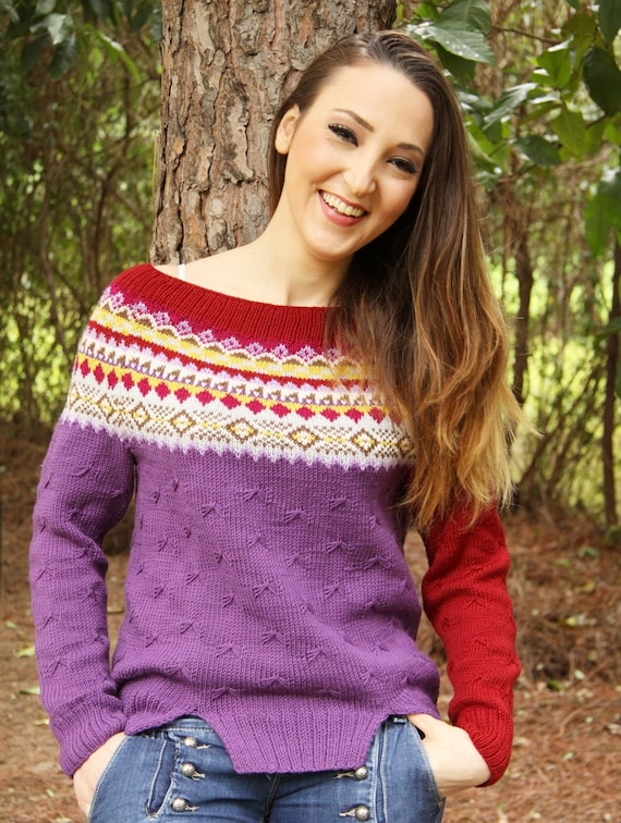 Items similar to PDF knitting pattern, knitted jumper ...