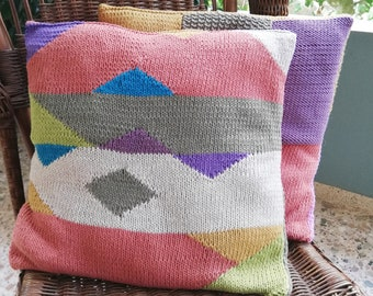 Set of two colorblock cushion covers knitting pattern pdf