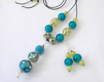 Caribbean Colors Jewelry Set Necklace Earrings Turquoise Yellow Cut Crystal Suncatcher Bollywood Beads Boho Jewelry