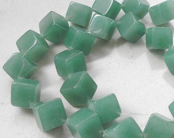 Green Aventurine Beads 10 mm Cube Cross Drilled For Beaded Jewelry Making Metaphysical Healing Stone