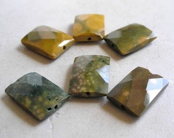 Ocean Jasper Beads Faceted Rectangle For Beaded Jewelry Making