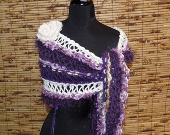 Hand Knitted Shawl  SOUR GRAPES