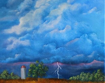 Sunset Storm Oil Painting 11 x 14