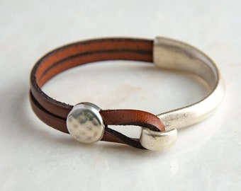 Leather cuff bracelet for women | Genuine leather wrap bracelet for men and women |  Boho bracelet | Bestseller from Red Moon Jewelry