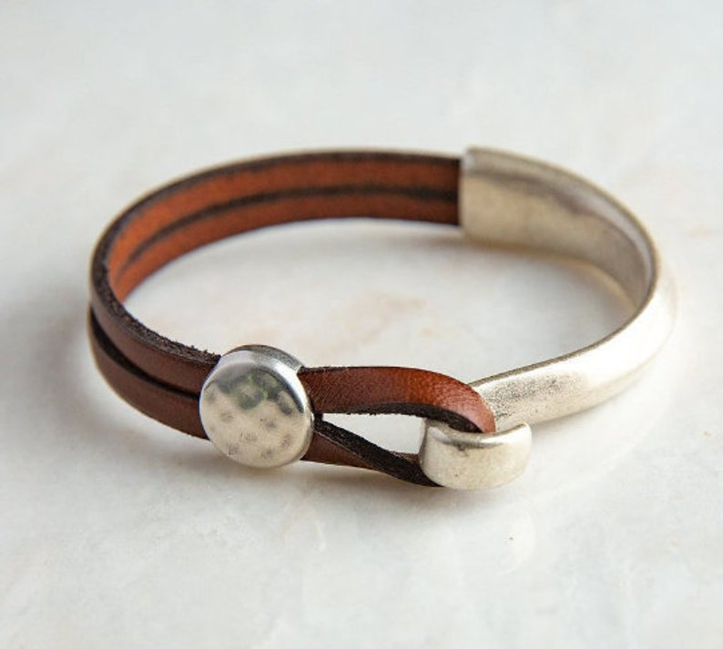 Leather cuff bracelet for women  Genuine leather wrap image 1