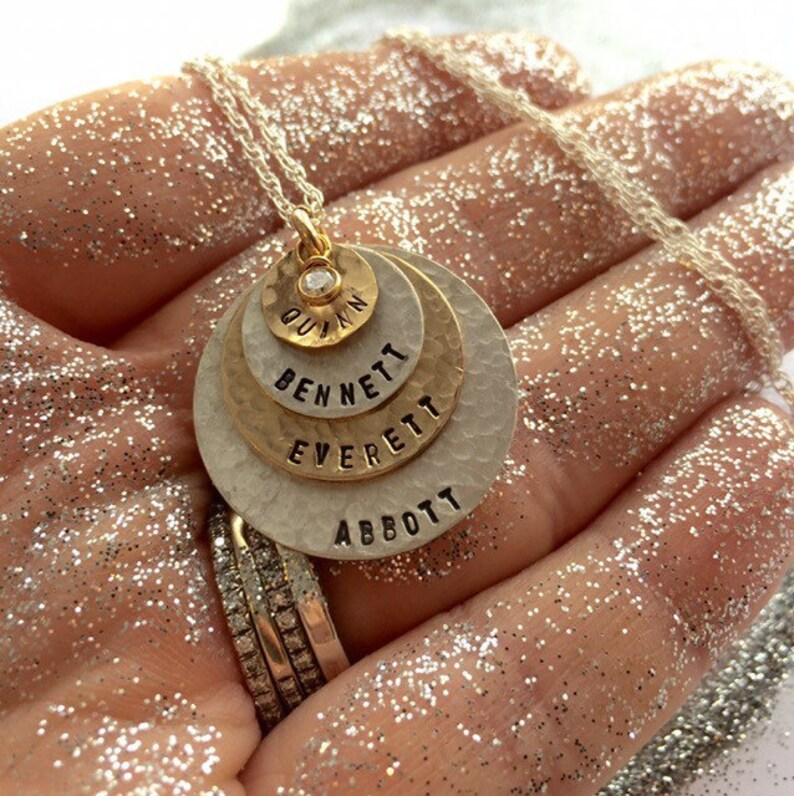 Gold Filled discs and Sterling Silver disc with CZ Personalized Your Charm Hand Made By Simag Hand Stamped Jewelry