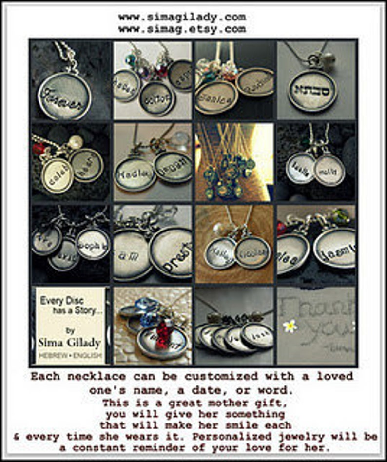 Personalized your one of a kind necklace Every Disc Has A Story hand stamped by SimaG ---- FOUR discs