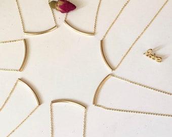 Gold Balance Bar Necklace . Gold Filled Bar Necklace . 14k Gold Filled Bar . Minimal Simple Curved Bar Necklace . Dainty Necklace . SimaG
