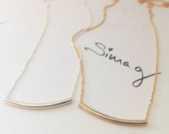 The Original Golden Gold Bar -  Balance Tube Bar Gold OR  Silver Necklace - By SimaG