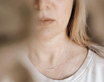 The Original Sterling Balance Bar Necklace . Silver Tube Bar. SIMPLE . BEAUTIFUL . modern . gold jewelry By SimaG