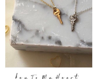 TINY Key To Your Heart Necklace miniature MINI gold filled or sterling silver small key charm . SimaG . Success love love graduation